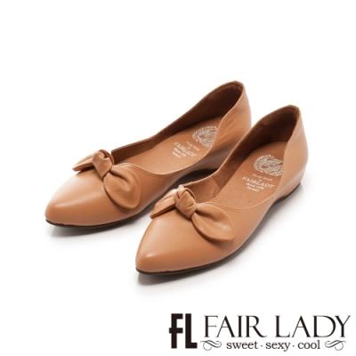 Fair Lady 懶骨頭 蝴蝶扭結尖頭平底鞋 蜜橙