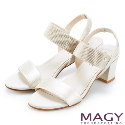 MAGY 夏日時尚舒適 鬆緊帶真皮粗跟涼鞋-金色