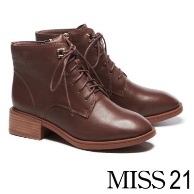 短靴 MISS 21 質感個性女孩牛皮綁帶粗跟短靴-咖