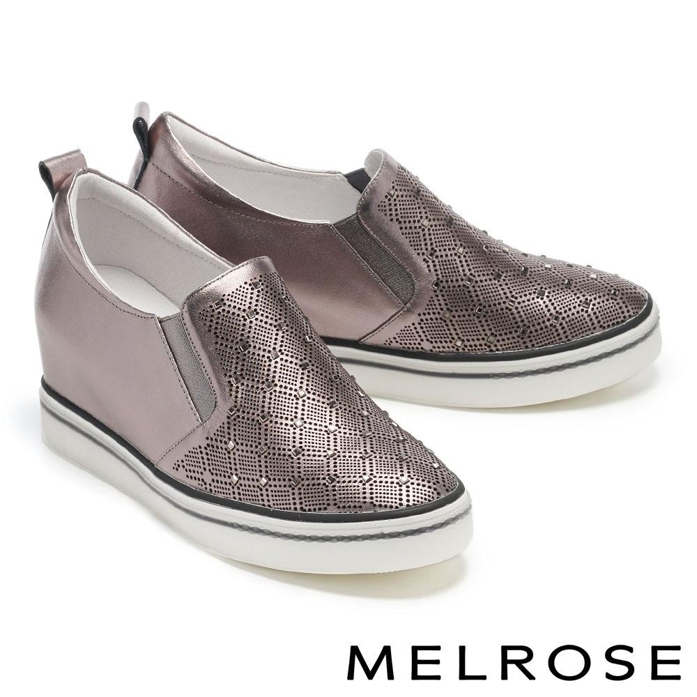 休閒鞋 MELROSE 質感時尚方鑽鏤空全真皮內增高厚底休閒鞋-古銅