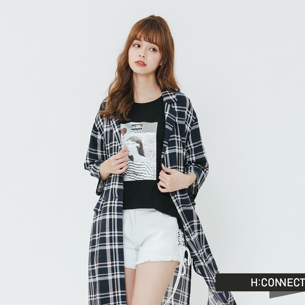 H:CONNECT 韓國品牌 女裝-小翻領格紋長板罩衫-藍