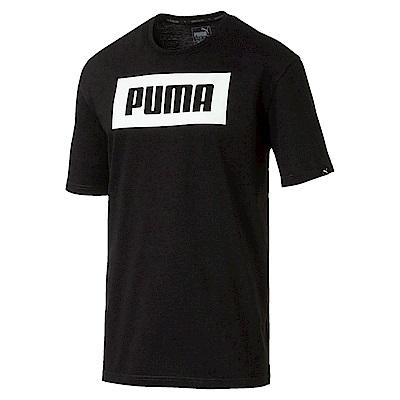 PUMA-男性基本系列大Rebel短袖T恤-黑色-亞規