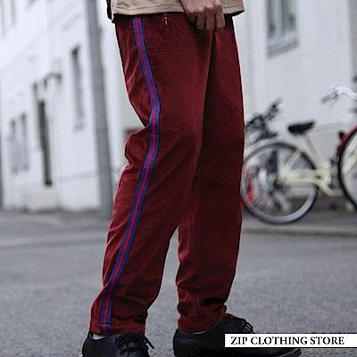 絲絨側邊線條休閒褲(3色) ZIP日本男裝