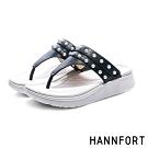 HANNFORT Ultra Comf 4D 珍珠羊皮厚底拖鞋-女-黑