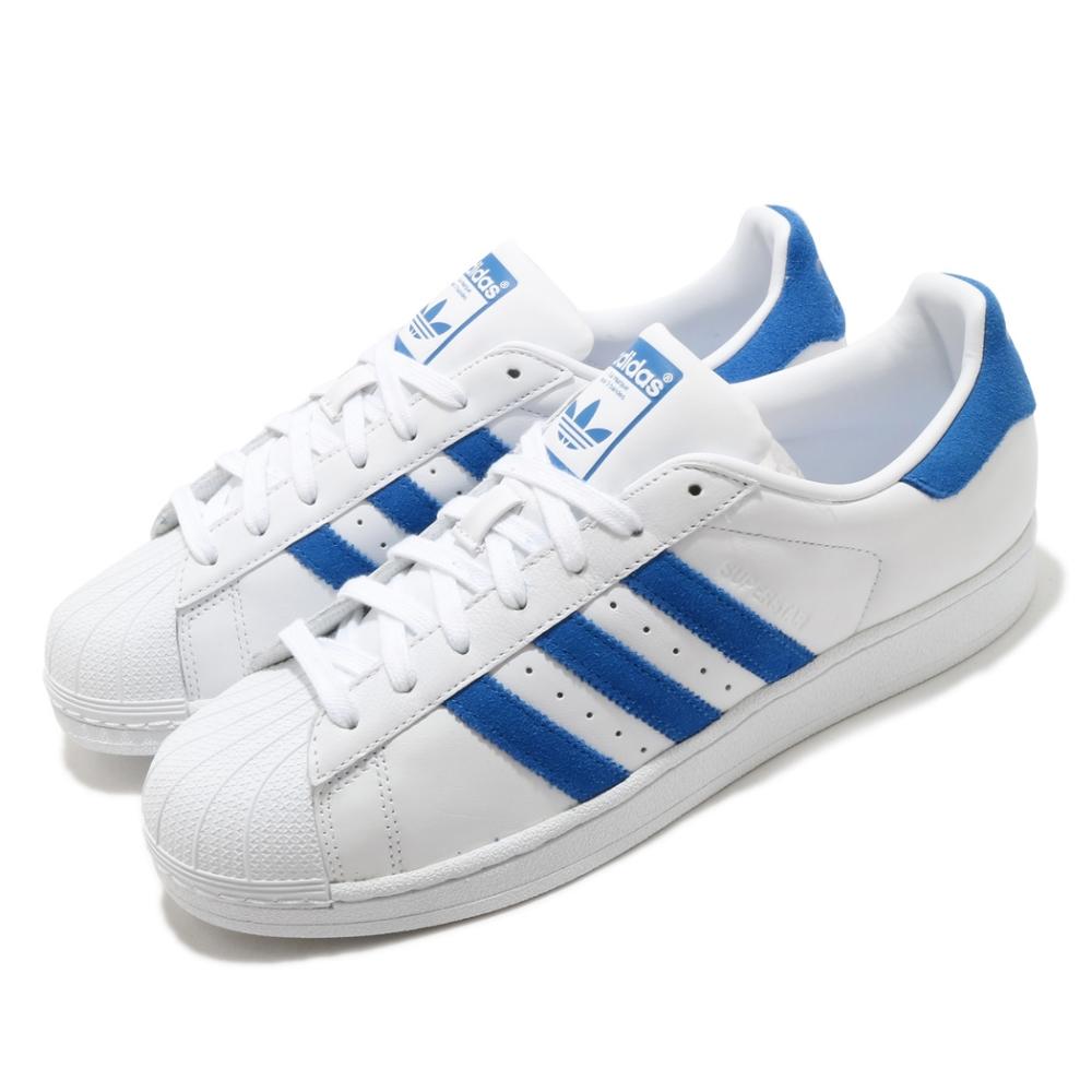 adidas 休閒鞋 Superstar 復古 低筒 男鞋 海外限定 愛迪達 三葉草 貝殼頭 皮革 白 藍 EE4474
