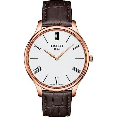 TISSOT天梭 Tradition 羅馬薄型石英錶-白x咖啡/39mm