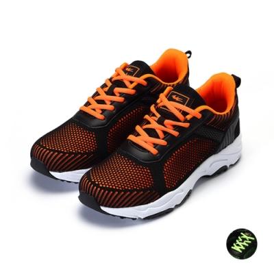 COMBAT艾樂跑男鞋-針織運動鞋-黑桔/黑綠(22577)
