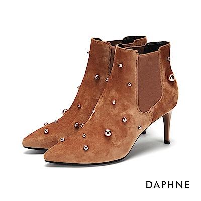 達芙妮DAPHNE 高跟鞋-珠飾鉚釘絨面高跟鞋-粉紅