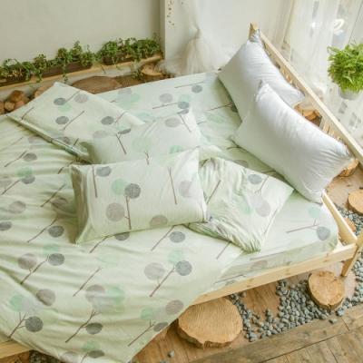 BUHO 雙人加大三件式精梳純棉床包組(如芽新綠)