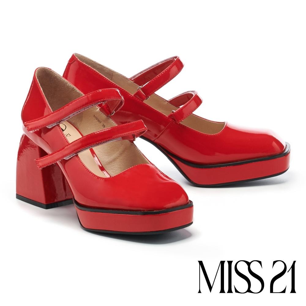 高跟鞋 MISS 21 小叛逆復古胖胖粗跟方頭瑪莉珍高跟鞋-紅