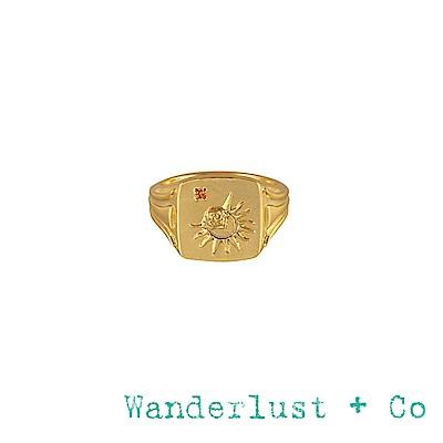 Wanderlust+Co 澳洲品牌 黃水晶太陽戒指 金色方形戒指Solis Signet