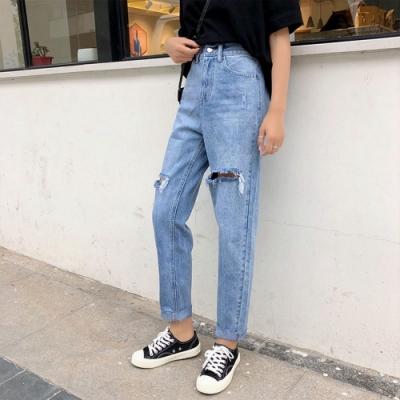 街頭時尚直筒膝上破洞單寧隨性長褲L-4XL-WHATDAY