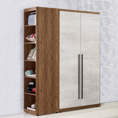 D&T 德泰傢俱 DINO清水模風格3.6尺雙吊+側邊開放衣櫃-110x57x202cm