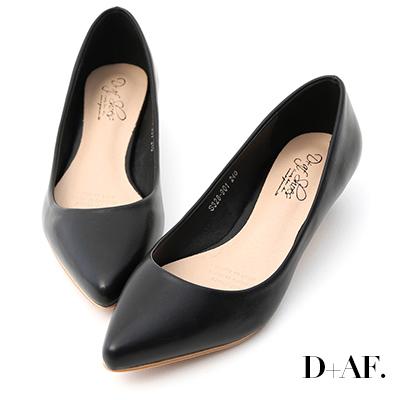 D+AF 微醺色調.素面美型低跟尖頭鞋*黑