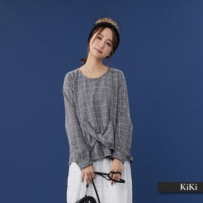 【KiKi】扭結格紋長袖-襯衫(二色)