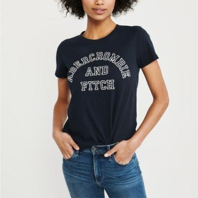麋鹿 AF A&F 經典文字印刷短袖T恤(女)-深藍色