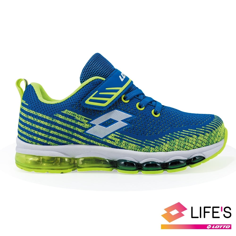 LOTTO 義大利 童 FLY KNIT 氣墊跑鞋 (藍綠)