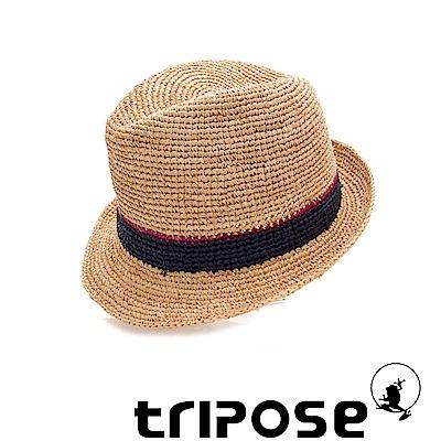 tripose 經典微旅-100%手工Raffia紳士遮陽草帽-雙色藍紋理