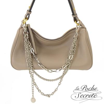 La Poche Secrete側背包 簡約真皮時髦鍊帶4WAYS側斜背包-奶茶杏