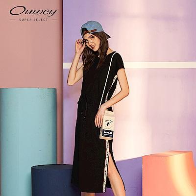 OUWEY歐薇 拼色織帶開衩連袖洋裝(黑)