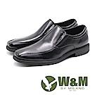 W&M 方頭素面直套式皮鞋 男鞋 - 黑