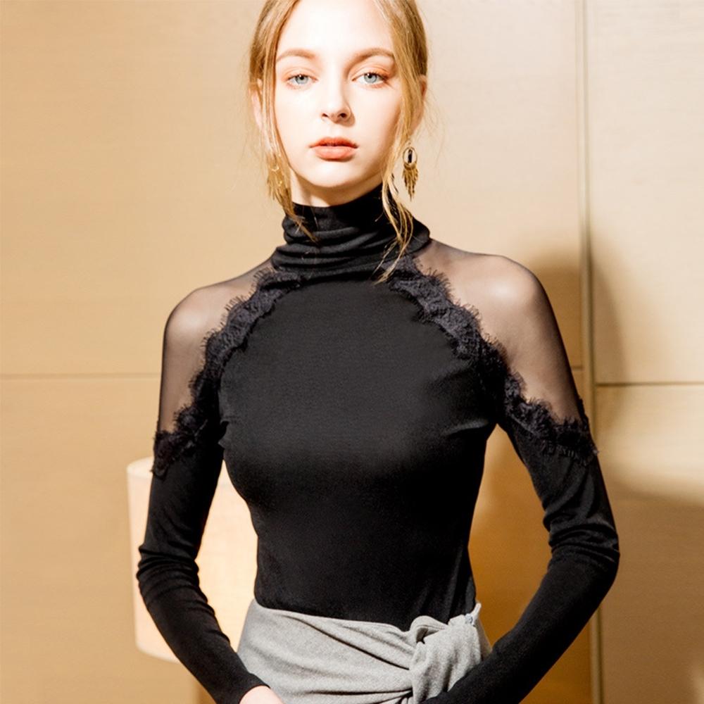 專注內搭-睫毛蕾絲邊內搭心機上衣性感透視露肩設計感T恤(S-3XL可選)