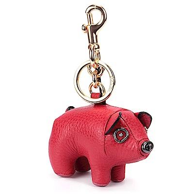 COACH 可愛小豬造型皮革鑰匙圈-紅色