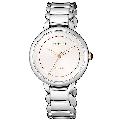 CITIZEN星辰L光動能珍珠貝時尚手錶(EM0676-85X)-銀/30mm