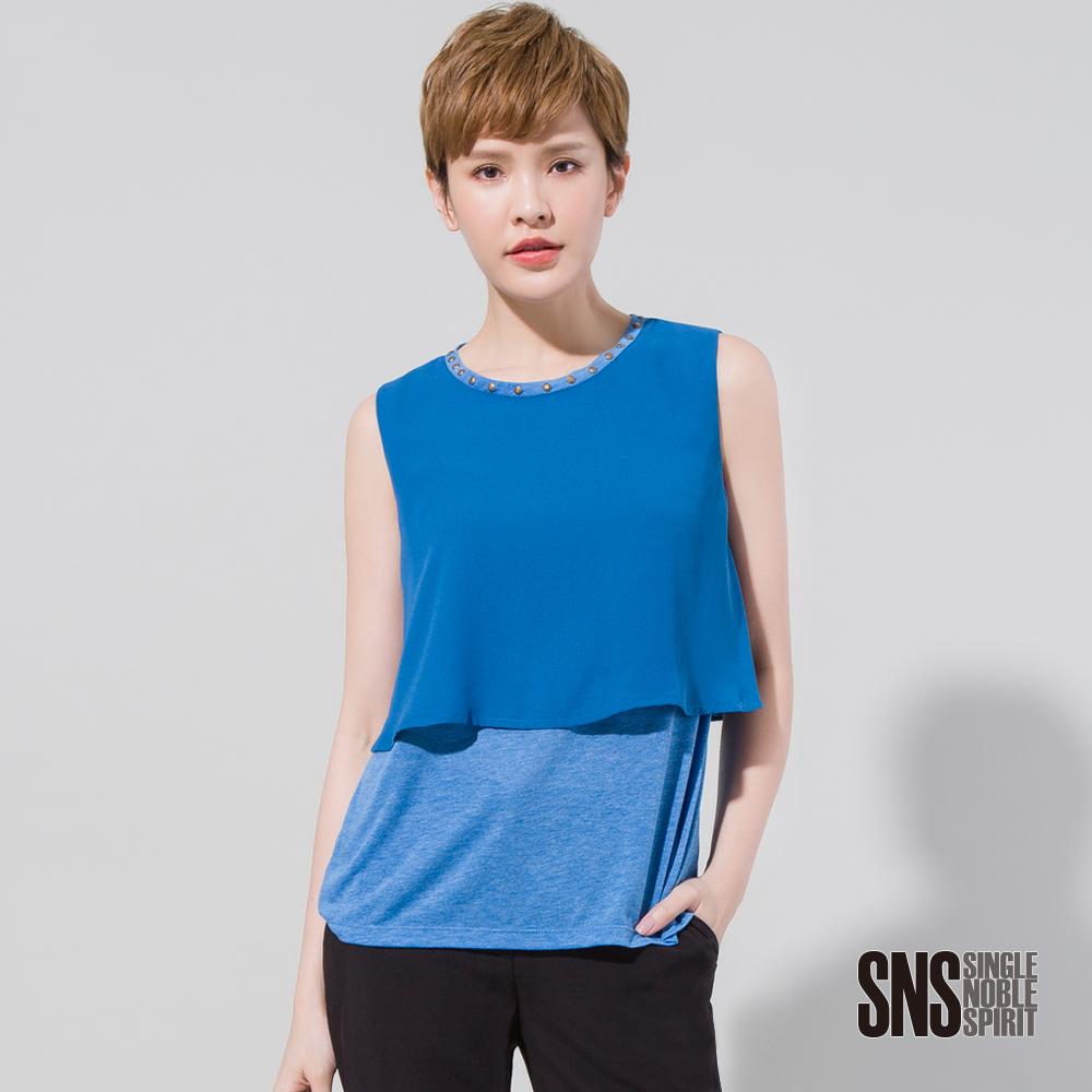 SNS 帥氣鉚釘領層次拼接無袖上衣(3色)