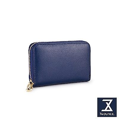 74盎司 簡約真皮防RFID功能卡片包[LN-736]藍