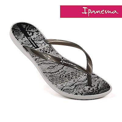 IPANEMA 舞動波紋 夾腳拖鞋-白色/銀色