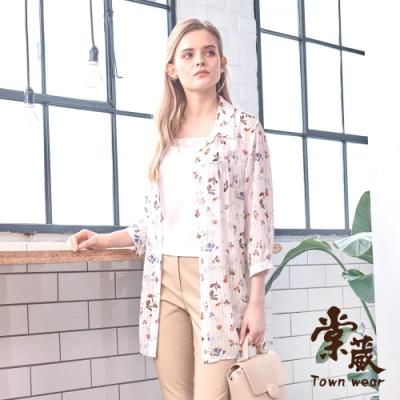 【TOWNWEAR棠葳】花卉雪紡長版透膚襯衫
