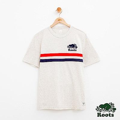 男裝Roots 拼接短袖T恤-白