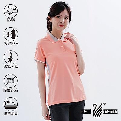 【遊遍天下】MIT台灣製女款抗UV吸濕排汗機能POLO衫S075-1粉橘