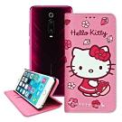 三麗鷗授權 Hello Kitty 小米9T 櫻花吊繩款彩繪側掀皮套