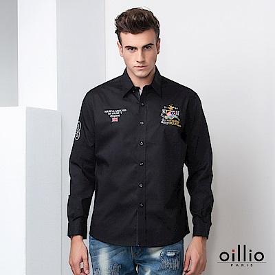 歐洲貴族 oillio 長袖襯衫 電腦刺繡 簡約質感 黑色