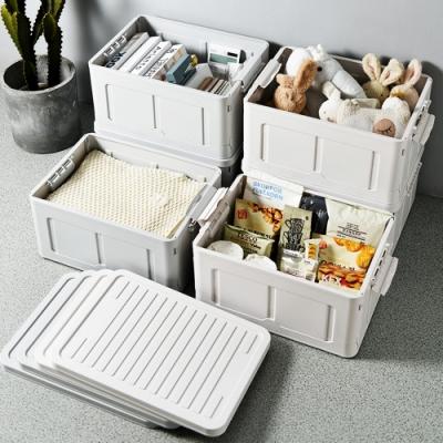 木暉-日式無印風大容量附蓋折疊收納箱2入