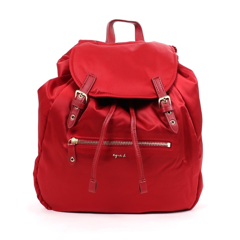agnes b. Voyage 大型緞面尼龍抽繩後背包 (紅)