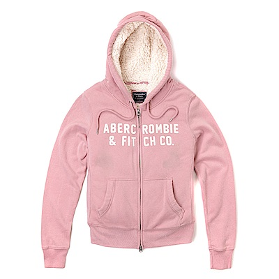 麋鹿 AF 經典刺繡文字QQ毛材質保暖連帽外套(女)-粉色