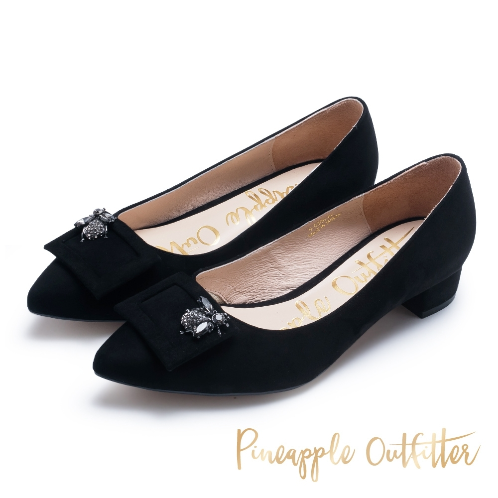 Pineapple Outfitter 復古女伶 羊皮方扣鑽飾尖頭粗跟鞋-黑色