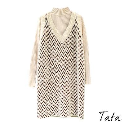 兩件式針織波浪紋背心裙洋裝 共二色 TATA