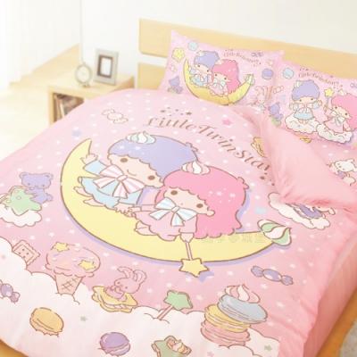 享夢城堡 雙人床包薄被套四件組-雙星仙子Little Twin Stars 月光童話-粉