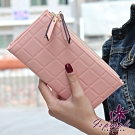 iSPurple 巧克力塊 對折皮革手拿長夾 粉