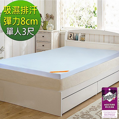 LooCa 吸濕排汗彈力8cm記憶床墊-單人(三色任選)