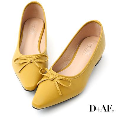 D+AF 春日繽紛.蝴蝶結尖頭低跟娃娃鞋*黃