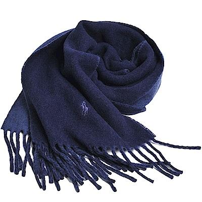 RALPH LAUREN POLO小馬刺繡LOGO雙面配色義大利製羊毛圍巾(海軍藍/灰藍)