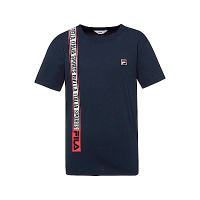 FILA 男款短袖圓領T恤(合身版)-丈青 1TET-1516-NV