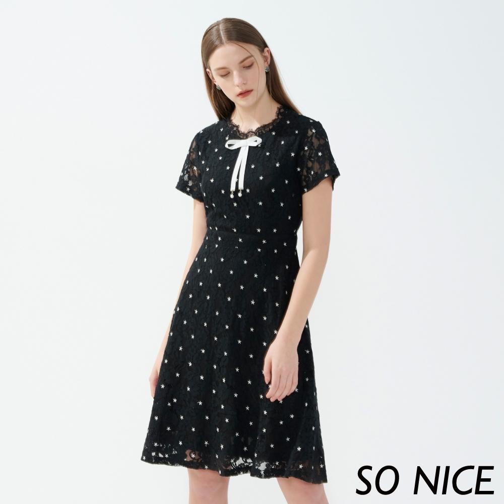 [會員封殺日] SO NICE優雅電繡星星蕾絲洋裝