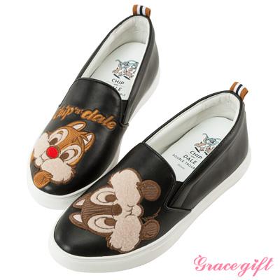 Disney collection by grace gift拼接電繡內增高懶人鞋黑