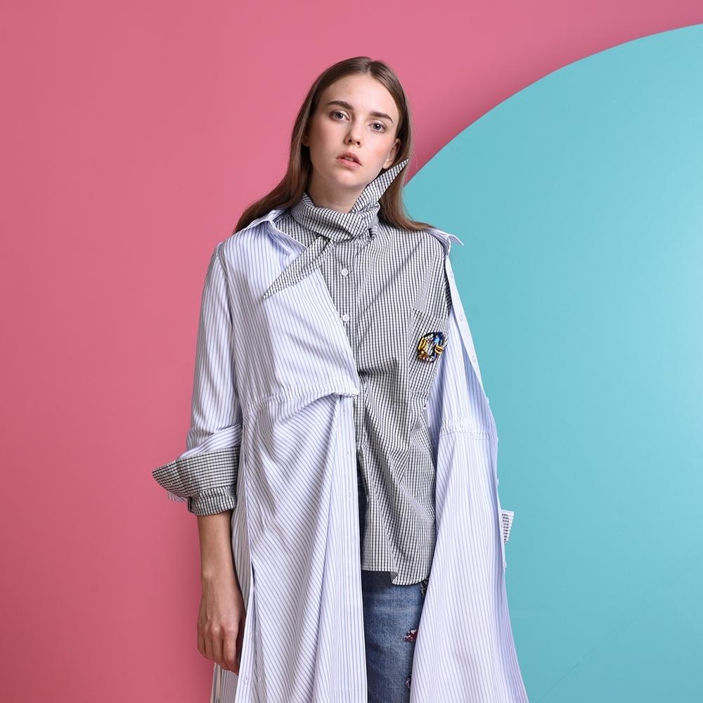 gozo-尖領氣勢細格紋襯衫(二色)